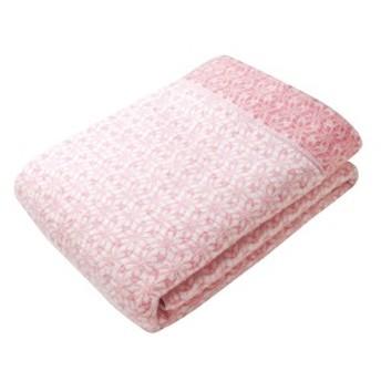 西川リビング 和布小紋 七宝 アクリル衿付合せ毛布(毛羽部分) WFK-25100W PI ピンク