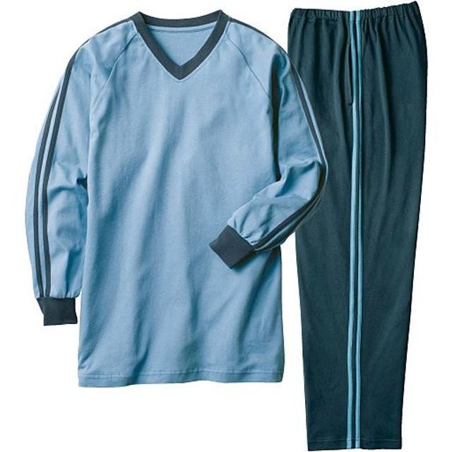 【レディース】 定番人気の綿100%VネックTタイプパジャマ(男女兼用) ■カラー:ブルー ■サイズ:3L,L,S,LL,5L,M