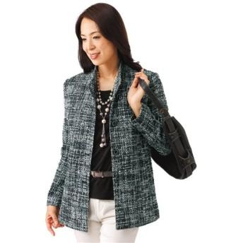 【レディース】 シルク混先染めジャケット - セシール ■カラー:ブラック ■サイズ:LL