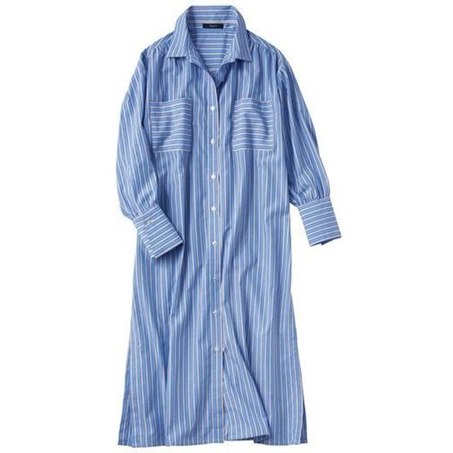 30%OFF【レディース】 サイドスリットストライプロングシャツ - セシール ■カラー:ブルー系 ■サイズ:L,S,M