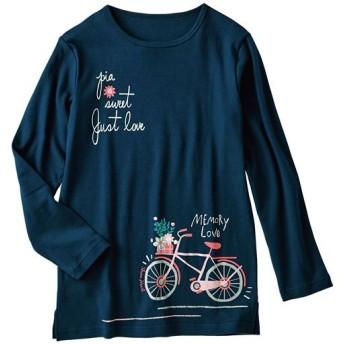 40%OFF【レディース】 プリントTシャツ(綿100%) ■カラー:ネイビーブルー ■サイズ:5L