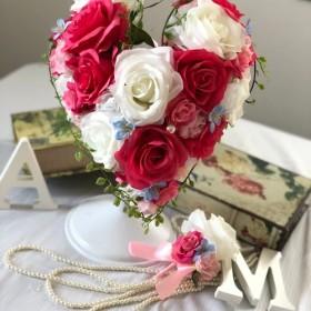 白バラ×ピンク濃淡ハートブーケ☆