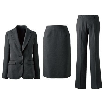 【レディース】 スーツ(3点セット)(ジャケット+スカート+パンツ)(洗濯機OK・事務服) ■カラー:チャコールグレー ■サイズ:19ABR88,21ABR92,5AP58,7AP61,11AT67,13AT70,7AR61,9AR64,11AR67,13AR70,13ABR76,15ABR80,17ABR84