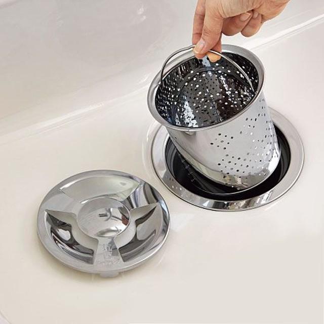 排水口ゴミ受け・カバーセット(抗菌ステンレス製) - セシール ■サイズ:深型,浅型