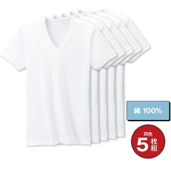 【メンズ】 男の綿100%半袖Vネック(5枚組) - セシール ■カラー:ホワイト ■サイズ:4L,M,5L,L,LL,3L