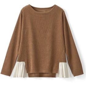 70%OFF【レディース】 裾フリルプルオーバー - セシール ■カラー:キャメル ■サイズ:3L,LL,M,L