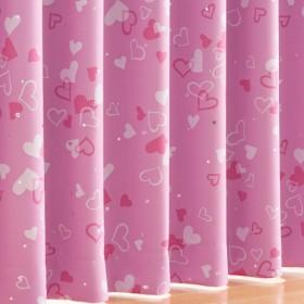 ハート柄1級遮光プリントカーテン - セシール ■カラー:ピンク ■サイズ:幅100×丈225(2枚組),幅100×丈250(2枚組),幅100×丈70(2枚組),幅100×丈260(2枚組),幅130×丈135(2枚組),幅130×丈100(2枚組),幅150×丈245(2枚組),幅150×丈225(2枚組),幅150×丈200(2枚組),幅150×丈190(2枚組),幅130×丈250(2枚組),幅200×丈220(1枚物),幅100×丈135(2枚組),幅100×丈220(2枚組),幅100×丈17