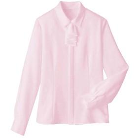 【レディース】 フリルタイ付きブラウス(事務服・洗濯機OK) ■カラー:パールピンク ■サイズ:S,M,L,LL,3L