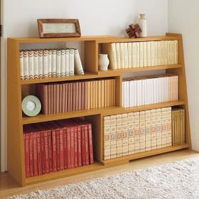 幅伸縮の出来るロータイプ書棚 - セシール ■カラー:ホワイト ■サイズ:B(幅62-110),C(幅82-140),A(幅47-80)