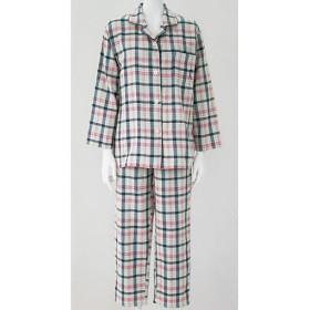 【レディース】 人気のチェック柄シャツパジャマ(綿100%)(二重ガーゼ) ■カラー:チェックC(ピンク×ネイビー) ■サイズ:L,LL,5L,3L,M