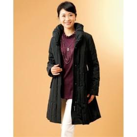 【レディース】 シャンブレー素材美シルエットダウンコート ■カラー:ブラック ■サイズ:L,M
