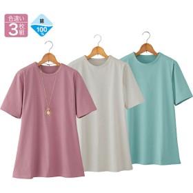 【レディース】 強撚綿100%サラッとTシャツ(色違い3枚組) - セシール ■サイズ:LL,M,L,3L,4L,5L