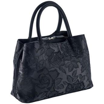 織柄入りジャカードフォーマルバッグ(三層式) - セシール ■カラー:ブラック