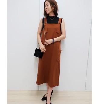 【レディース】 バックル使いジャンパースカート - セシール ■カラー:キャメル ■サイズ:S,M,L