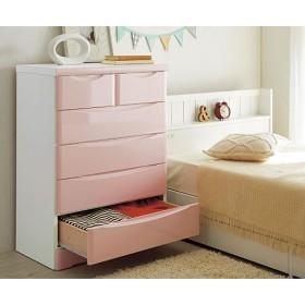 隠し引き出しの付いた鏡面カジュアルチェスト - セシール ■カラー:ピンク ■サイズ:B,A