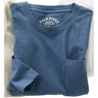 【レディース】 オーガニックコットン100%素材のクルーネックTシャツ(7分袖) ■カラー:アッシュブルー ■サイズ:7L,S,M,L,LL,3L,5L