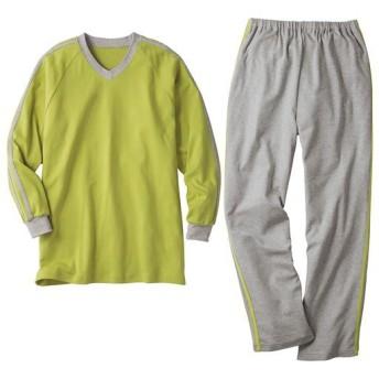 【レディース】 定番人気の綿100%VネックTタイプパジャマ(男女兼用) ■カラー:イエローグリーン ■サイズ:5L,3L,LL,L,M,S