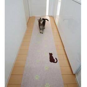 猫の足あと 蓄光廊下敷き - セシール ■カラー:ライトブラウン ■サイズ:3枚組