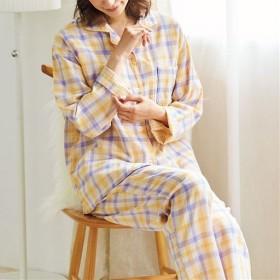 【レディース】 人気のチェック柄シャツパジャマ(綿100%)(二重ガーゼ) ■カラー:チェックE(イエロー×パープル) ■サイズ:M,L,5L,LL,3L