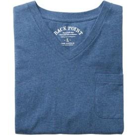 【レディース】 オーガニックコットン100%素材のVネックTシャツ(半袖) ■カラー:アッシュブルー ■サイズ:M,L,LL,3L,5L,7L,S