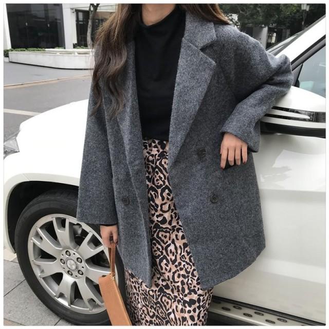 コート アウター レディース ジャケット フェイクウールコート 無地 長袖 ゆったり シンプル カジュアル 通勤 オフィス 冬新作