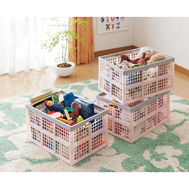 折り畳みカーゴケース(3個組) - セシール ■カラー:ピンク