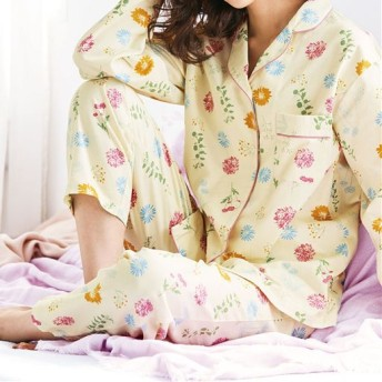 40%OFF【レディース】 洗い替えの1枚に!柄が可愛いパジャマ(綿100%) ■カラー:アイボリクリーム ■サイズ:M,3L,5L,L,LL,S