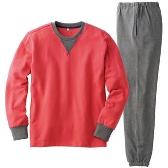 【レディース】 綿100%裏毛スウェットパジャマ(男女兼用) ■カラー:レッド ■サイズ:S,M,L,LL,3L,5L