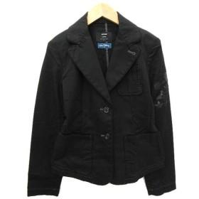 アルチザン ARTISAN x walt disney テーラードジャケット シングル 2B 袖プリント ミッキー コットン 7 黒 ブラック Y99216 レディース【中古】