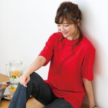 【レディース】 インド綿半袖Tシャツ(男女兼用) ■カラー:レッド ■サイズ:M,L,LL,S