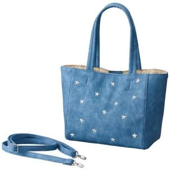 60%OFF【レディース大きいサイズ】 スタッズ使いトートバッグ(持ち手・ストラップ長め) ■カラー:ブルー系