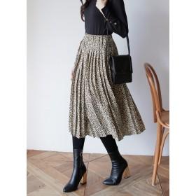 プリーツレオパードロングスカート・全2色・b52466
