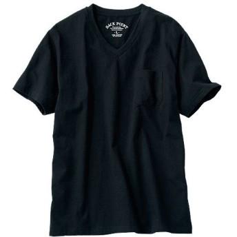 【レディース】 オーガニックコットン100%素材のVネックTシャツ(半袖) ■カラー:ブラック ■サイズ:S,M,L,LL,3L,5L,7L