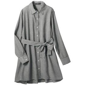 30%OFF【レディース】 ストライプチュニックシャツ - セシール ■カラー:グレー系 ■サイズ:S,M,L