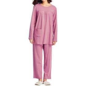 【レディース】 胸ギャザーのドット柄パジャマ(綿100%) ■カラー:ローズピンク ■サイズ:L,3L,LL,5L,6L,M