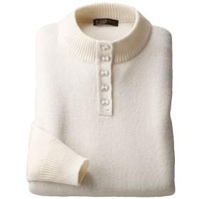 【レディース】 ウール100%洗えるボタン使いセーター ■カラー:オフホワイト ■サイズ:M,L