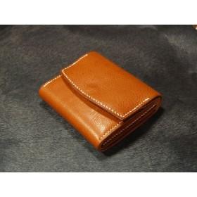 【受注製作】コンパクト革財布 2フラップ イタリアレザー ミネルバボックス 手縫い仕立て