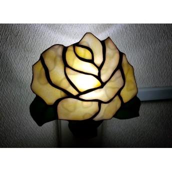 ステンドグラス☆大きなバラのおやすみランプ☆イエロー