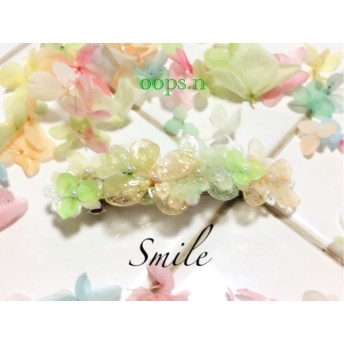 G Smile レースのお皿に紫陽花とパールのバレッタ