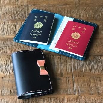 *イタリアンレザーブッテーロのリボン付きパスポートケース