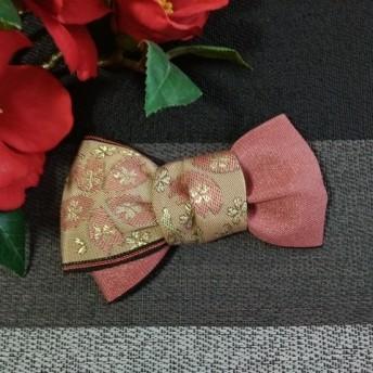 祭り髪飾り「畳縁リボン/艶桃に桜」