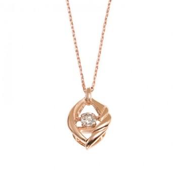 BLOOM ブルーム ダンシングストーン K10ピンクゴールドダイヤモンド 0.05ct ネックレス