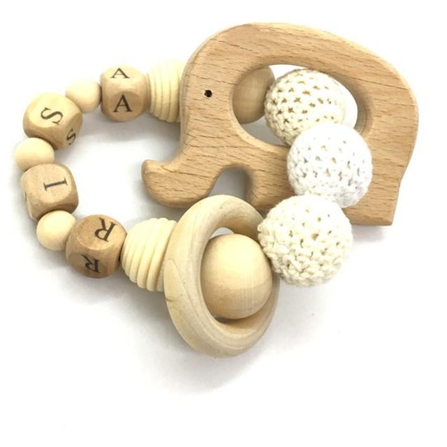お名前入り 木製おしゃぶり 歯がため ベビーの人気の贈り物 ぞうの輪っか