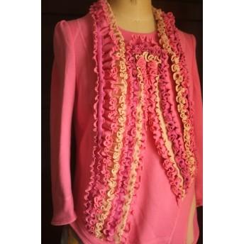 sds:010【 大人の子供服 】ピンク クレイジーパターン スウェット ドレスシャツ