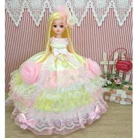リカちゃん お姫様ドレス 一点物☆イエロー×ピンク