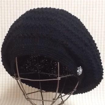黒のウォッシャブルコットンで編んだポコポコ♪ボーダーのボリュームベレー帽