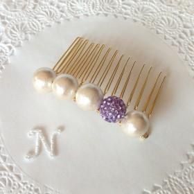 2eコットンパールヘアコーム《coiffure-violet》