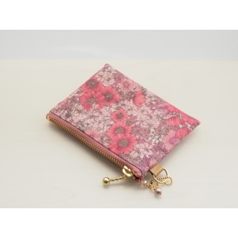 LIBERTY Gloria Flowers グロリアフラワーズ ピンク系 ビニコの中布・仕切りポケット付きminiポーチ ◆ コインケース・小物入れに♪