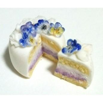 ≪再販≫青いビオラのお花のケーキのミニチュアスイーツ