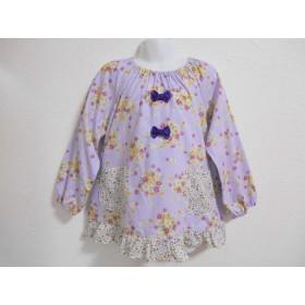 110cm♪薄い紫花柄 リボン、小花柄フリル スモック